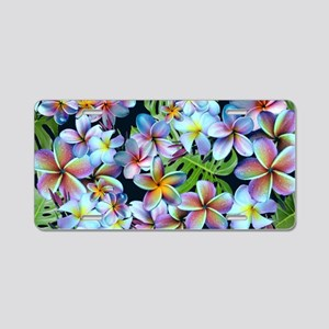 Rainbow Plumeria Dark Aluminum License Plate
