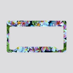 Rainbow Plumeria Dark License Plate Holder