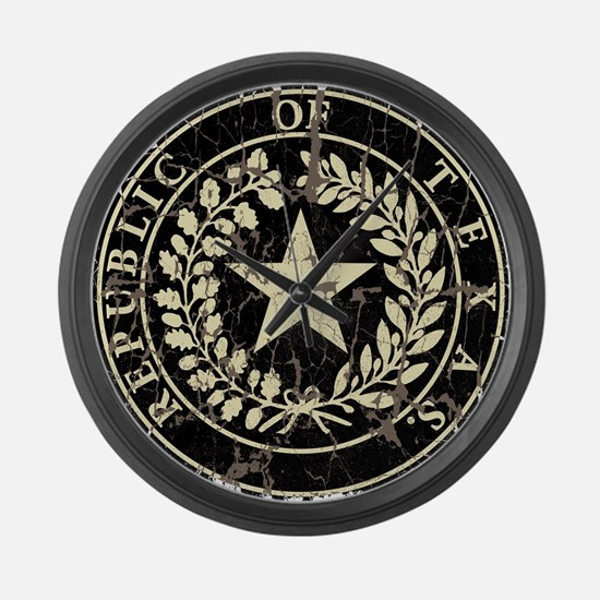 Republic of Texas Seal Distressed Large Wall Clock