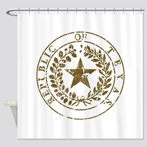 Republic of Texas Seal Distressed Shower Curtain