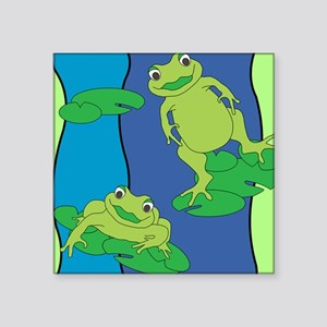 """Two Frogs Pattern Square Sticker 3"""" x 3"""""""