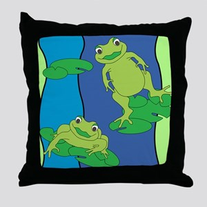 Two Frogs Pattern Throw Pillow