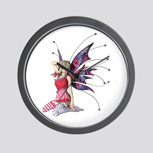 Red and Blue Winged Faerie Wall Clock