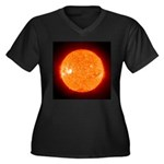 Sun Women's Plus Size V-Neck Dark T-Shirt