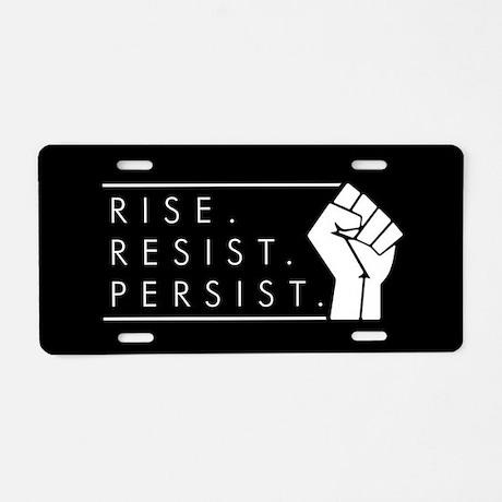 Rise Resist Persist Aluminum License Plate