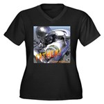 RoboFather Women's Plus Size V-Neck Dark T-Shirt