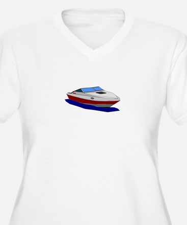 Red Cuddy Cabin Power Boat Plus Size T-Shirt
