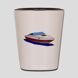 Red Cuddy Cabin Power Boat Shot Glass