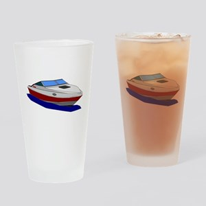 Red Cuddy Cabin Power Boat Drinking Glass