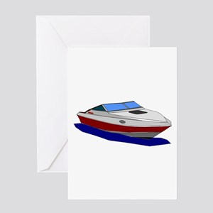 Red Cuddy Cabin Power Boat Greeting Cards