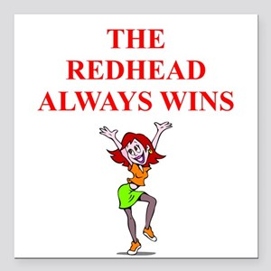 "red head Square Car Magnet 3"" x 3"""