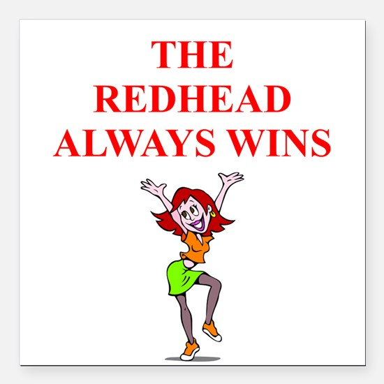 """red head Square Car Magnet 3"""" x 3"""""""