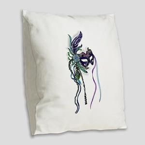 Decorative Mardi Gras Mask Burlap Throw Pillow