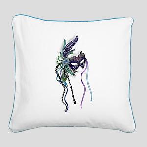 Decorative Mardi Gras Mask Square Canvas Pillow
