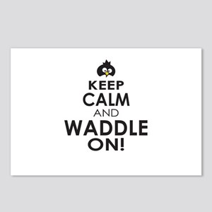 Penguin Keep Calm and Waddle On Postcards (Package
