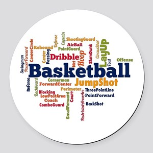 Basketball Word Cloud Round Car Magnet
