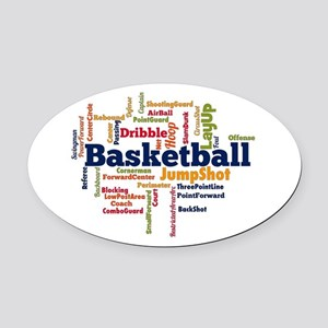 Basketball Word Cloud Oval Car Magnet