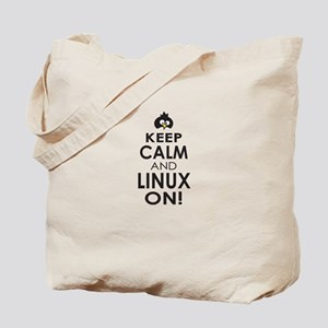 Penguin Keep Calm and Linux On Tote Bag