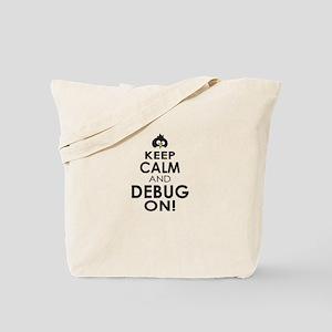 Penguin Keep Calm and Debug On Tote Bag