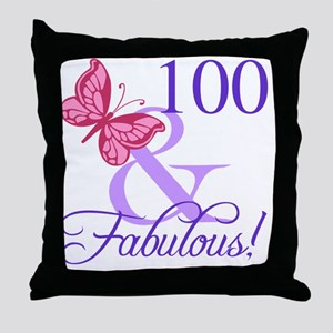 Fabulous 100th Birthday Throw Pillow