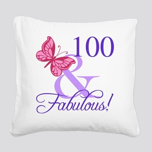 Fabulous 100th Birthday Square Canvas Pillow