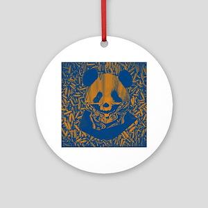 Bluish Yellow Panda Round Ornament