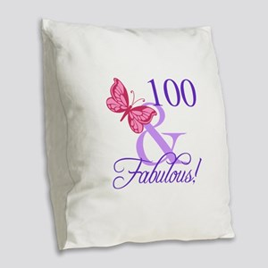 Fabulous 100th Birthday Burlap Throw Pillow