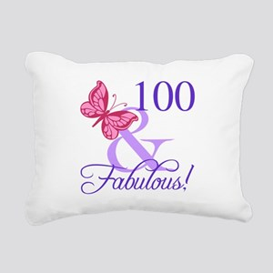 Fabulous 100th Birthday Rectangular Canvas Pillow