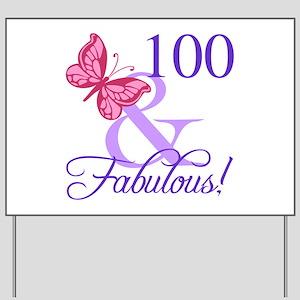 Fabulous 100th Birthday Yard Sign