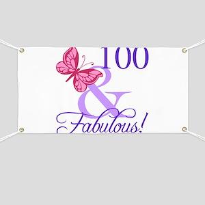 Fabulous 100th Birthday Banner