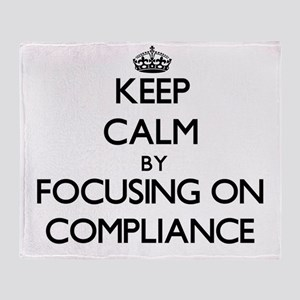 Keep Calm by focusing on Compliance Throw Blanket