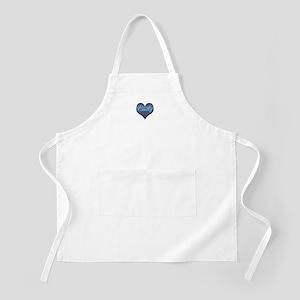 Big Blue Denim Heart Name Light Apron