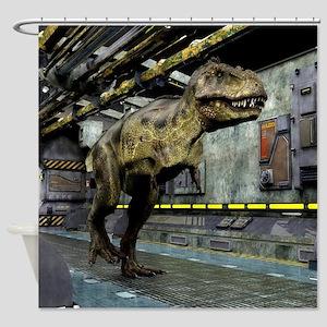 T-Rex Science Fiction Shower Curtain