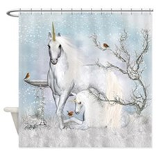 Winter Robins And Unicorns Shower Curtain