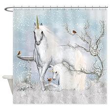 Winter Robins And Unicorns Shower Curtain