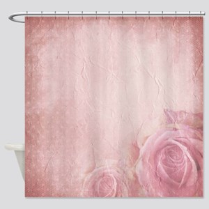 Pink Vintage Roses Shower Curtain