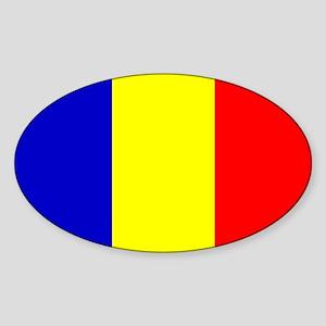 Romanian Flag Oval Sticker