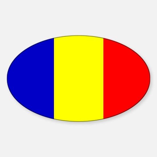 Romanian Flag Oval Decal