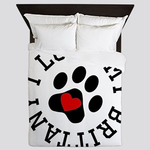 I Love My Brittany Queen Duvet