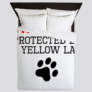 Protected By A Yellow Lab Queen Duvet