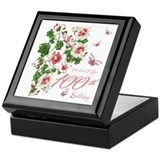 100th birthday pink floral vine Square Keepsake Boxes