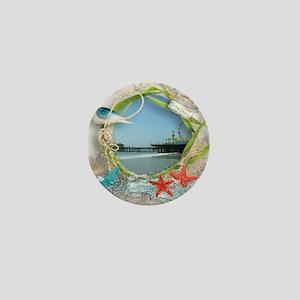 Pier Beach Collage Mini Button