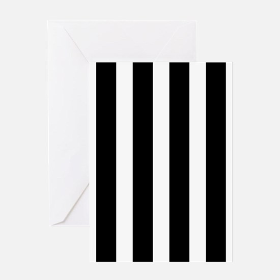 Black And White Vertical Stripes Greeting Cards