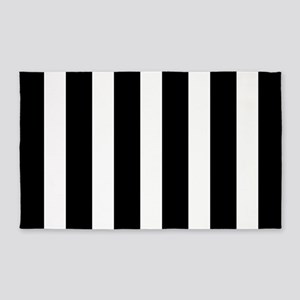 Black And White Vertical Stripes 3'x5' Area Rug