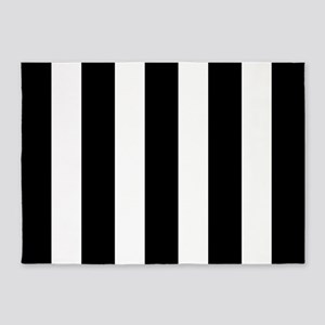 Black And White Vertical Stripes 5'x7'Area Rug
