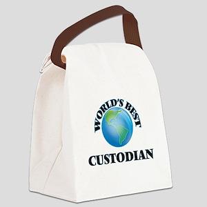 World's Best Custodian Canvas Lunch Bag