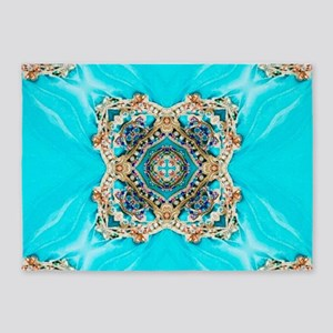 colourful bold turquoise bohemian p 5'x7'Area Rug