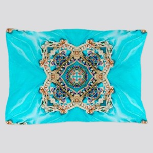 colourful bold turquoise bohemian patt Pillow Case