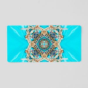 colourful bold turquoise bo Aluminum License Plate