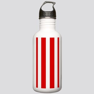 Red And White Vertical Stripes Water Bottle